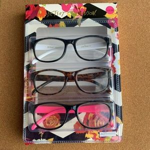 Betsey Johnson 3 pk WHITE Black HOT PINK Readers +